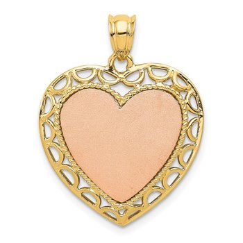 14K Two-tone Polished Lace Trim Heart Pendant