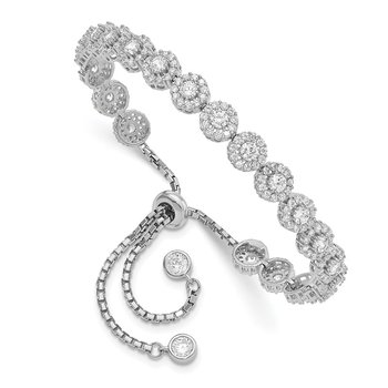 Sterling Silver Rhodium-plated CZ Halo Adjustable Bracelet