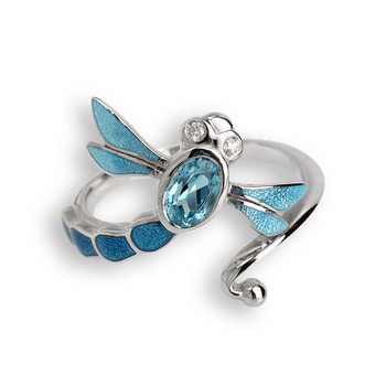 Sterling Silver Dragonfly Ring-Blue. Diamonds and Blue Topaz.
