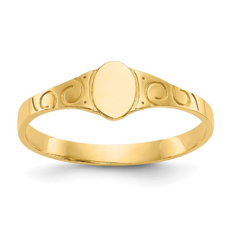 Quality Gold 14k Polished Oval Baby Signet Ring