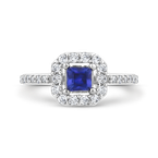 Essentials 10K White Gold 3/8 Ct Diamond with 3/8 Ct Sapphire Fashion Ring