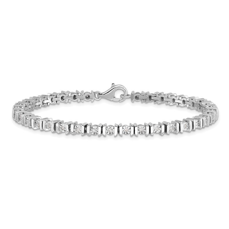 Quality Gold Sterling Silver Rhodium-plated Diam. Tennis Bracelet