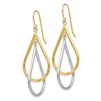 14k Two-tone Tear Drop Tube Earrings
