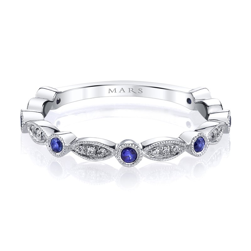 MARS Jewelry MARS 26935WGBS Stackable Ring, 0.06 Dia, 0.17 B Saph.