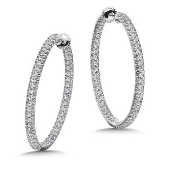 Locking Oval Reflection Diamond Hoops in 14K White Gold with Platinum Post