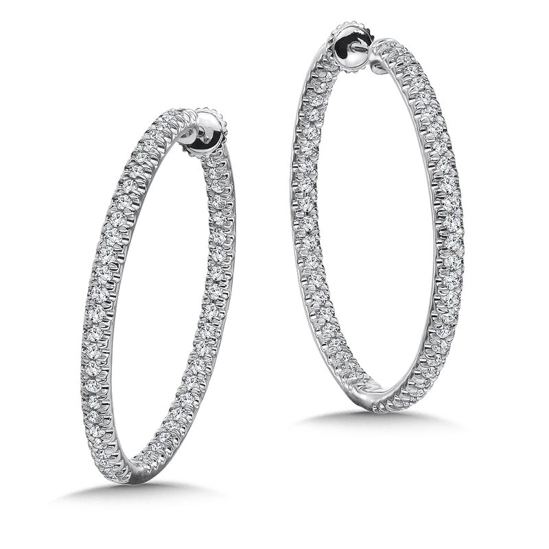 Caro74 Locking Oval Reflection Diamond Hoops in 14K White Gold with Platinum Post