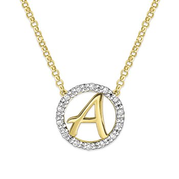 "Gold and Diamond Mini Halo ""A"" Initial Necklace"