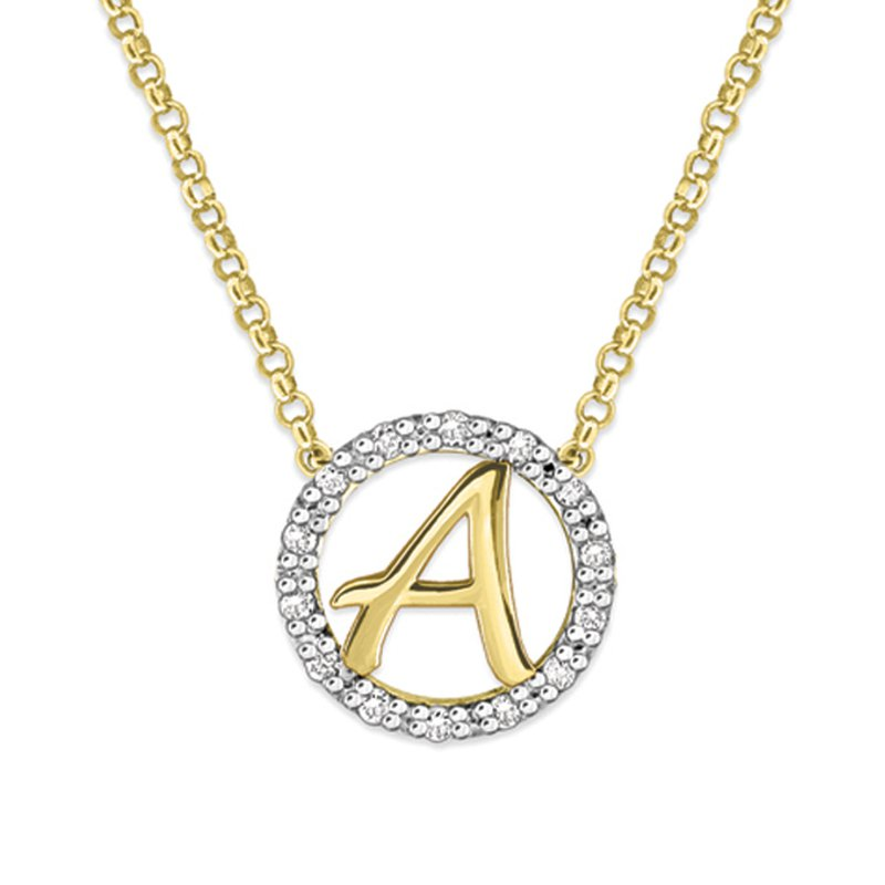 "KC Designs Gold and Diamond Mini Halo ""A"" Initial Necklace"