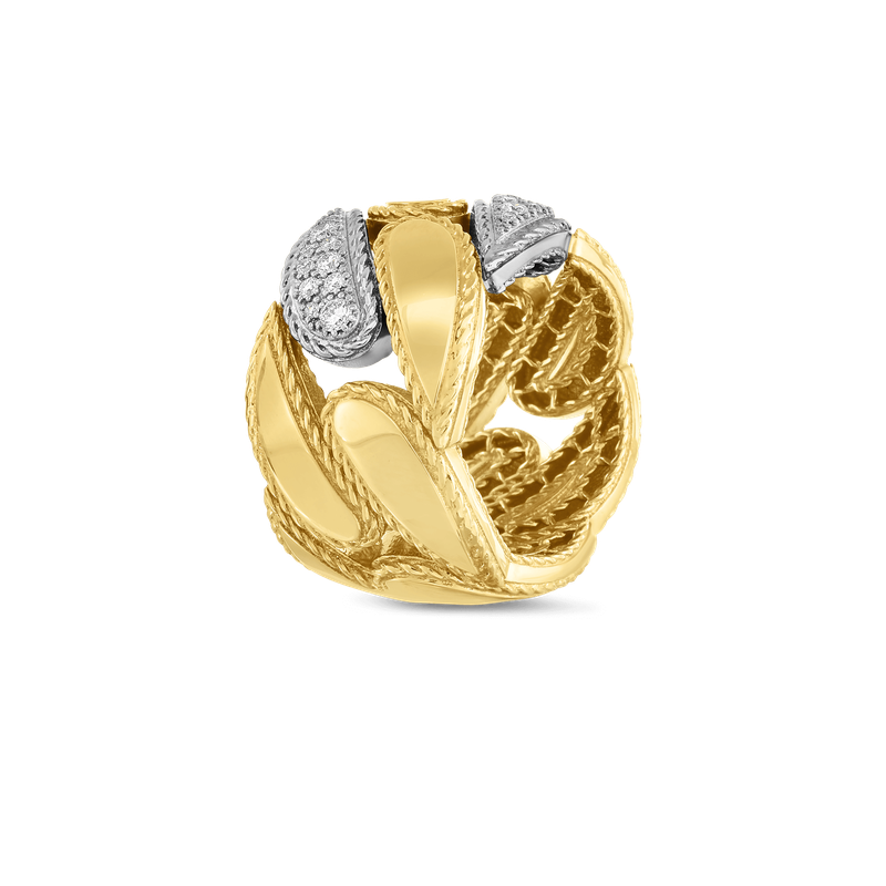 Roberto Coin Groumette Link Ring With Diamonds
