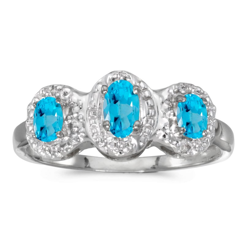 Color Merchants 14k White Gold Oval Blue Topaz And Diamond Three Stone Ring
