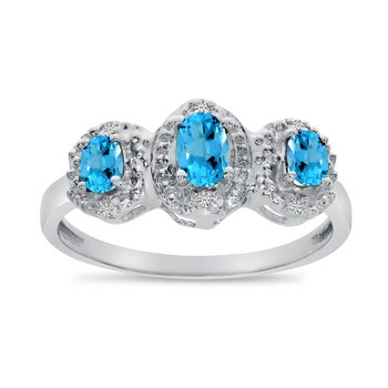 14k White Gold Oval Blue Topaz And Diamond Three Stone Ring