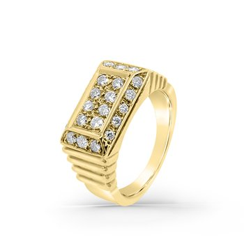 Yellow Gold Diamond Retro Geometric Mens Fashion Ring
