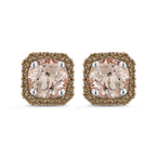 Essentials 10K White Gold 1/5 Ct Brown Diamond with 2 Ct Morganite Fashion Earrings