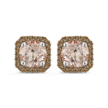 10K White Gold 1/5 Ct Brown Diamond with 2 Ct Morganite Fashion Earrings