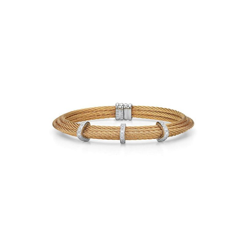 ALOR Rose Cable Tiered Stackable Bracelet with Triple Diamond Station set in 18kt White Gold