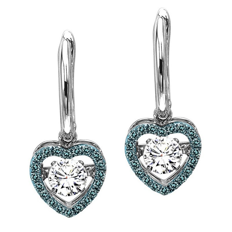 Rhythm of Love 14K Blue & White Diamond Rhythm Of Love Earrings 3/4 ctw