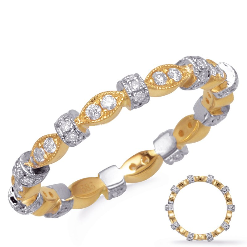 S. Kashi & Sons Bridal Yellow & White Stackable Eternity Band