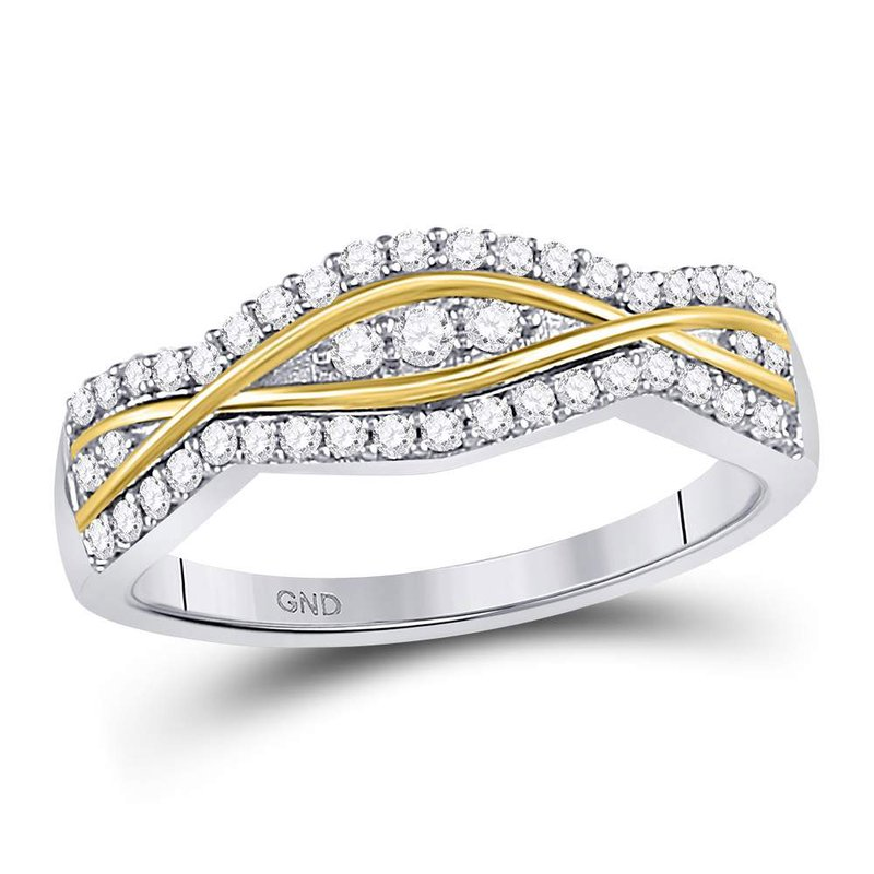 Gold-N-Diamonds 10kt Two-tone Gold Womens Round Diamond Contoured Band Ring 1/3 Cttw