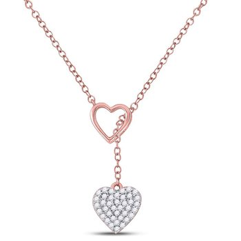 14kt Rose Gold Womens Round Diamond Heart Dangle Pendant Necklace 1/6 Cttw