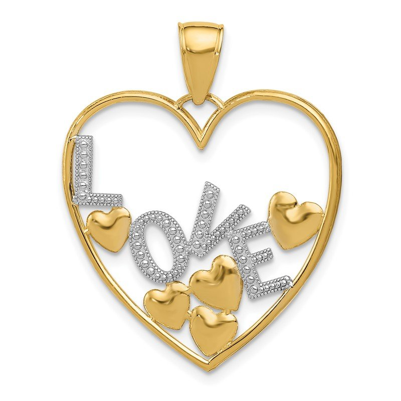 Quality Gold 14K w/Rhodium LOVE and Floating Hearts Pendant