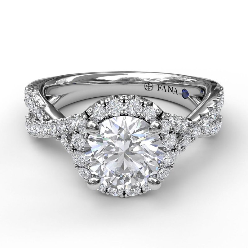 Fana Round Halo Twist Engagement Ring