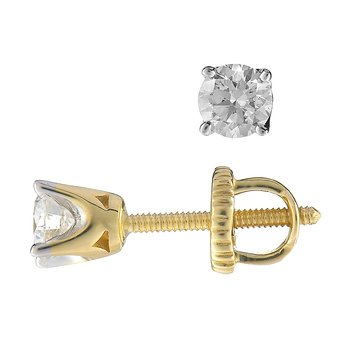 14K YG Stud Ear Rings TDW 0.40
