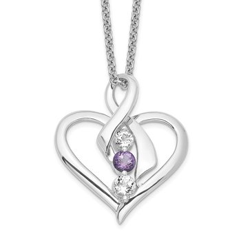 10k White Gold Survivor Clear/Purple Swarovski Topaz Heather Necklace