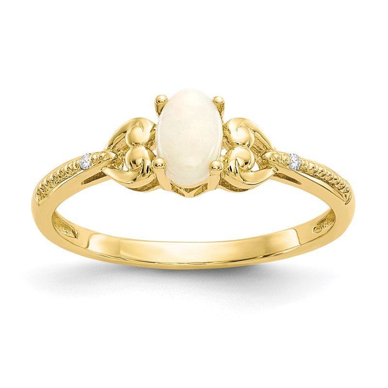 Quality Gold 10K Opal and Diamond Ring