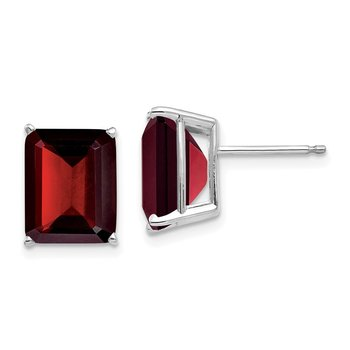 14k Emerald Cut Garnet Stud Earrings