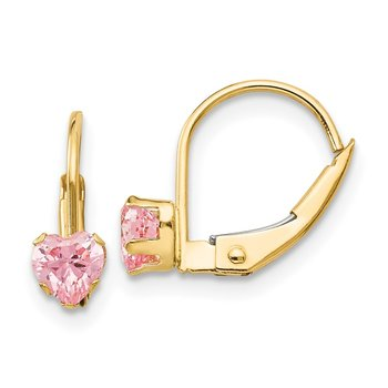 14k Madi K Leverback 4mm Pink CZ Earrings