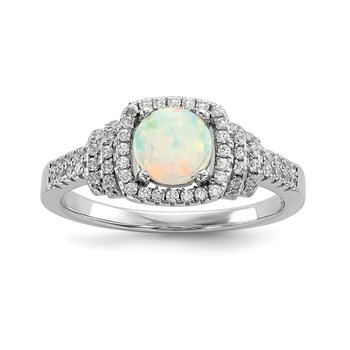 Sterling Silver Rhodium-plated CZ and Lab Created White Opal Ring