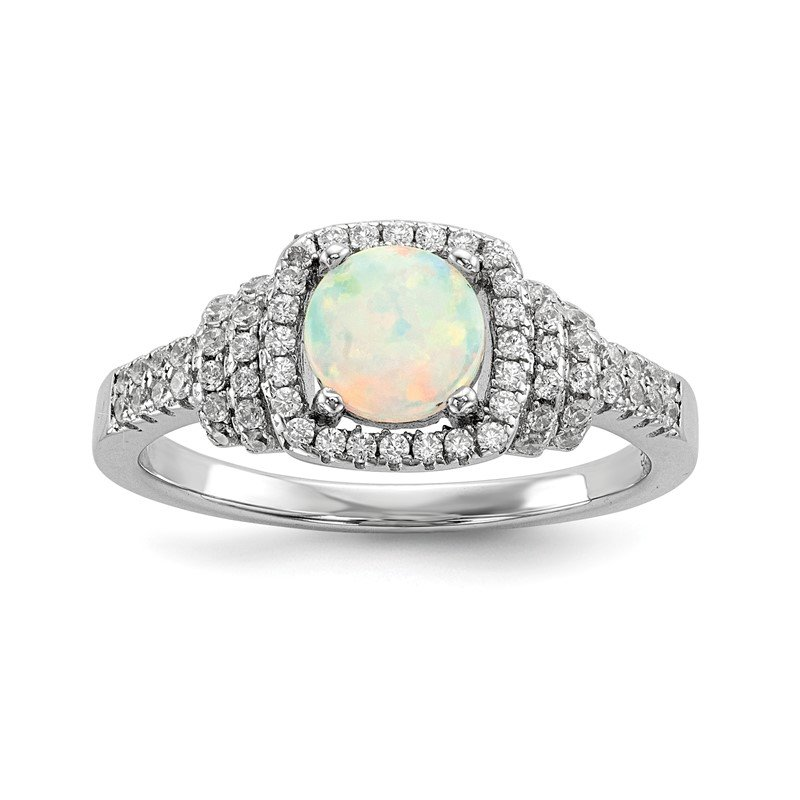 Quality Gold Sterling Silver Rhodium-plated CZ and Lab Created White Opal Ring