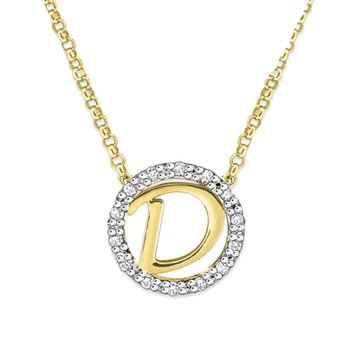 "Gold and Diamond Mini Halo ""D"" Initial Necklace"