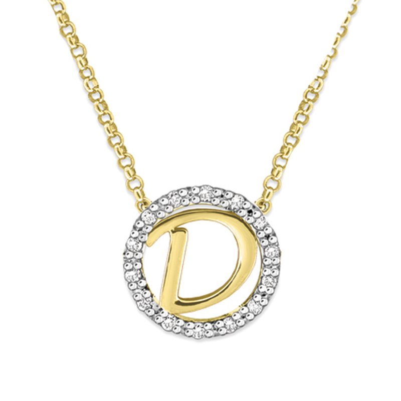 "KC Designs Gold and Diamond Mini Halo ""D"" Initial Necklace"