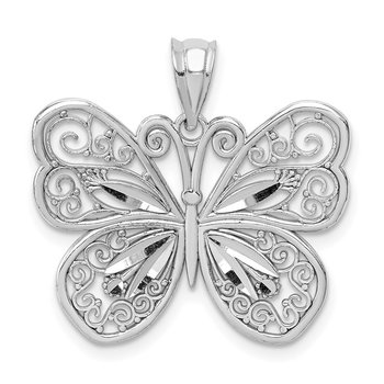 14K White Polished & Diamond-cut Butterfly Pendant