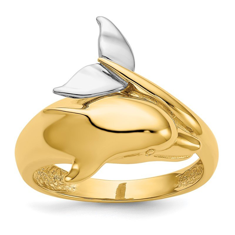 Quality Gold 14k Two-tone Polished Dolphin Ring