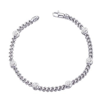 White Gold Braided Bracelet with Bezel Set Diamonds