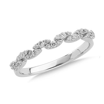 Pave set Diamond Marquise Link Design Stackable Ring set in 14k White Gold (1/4 ct. tw.)