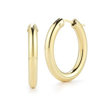 18KT GOLD MEDIUM OVAL HOOP EARRINGS