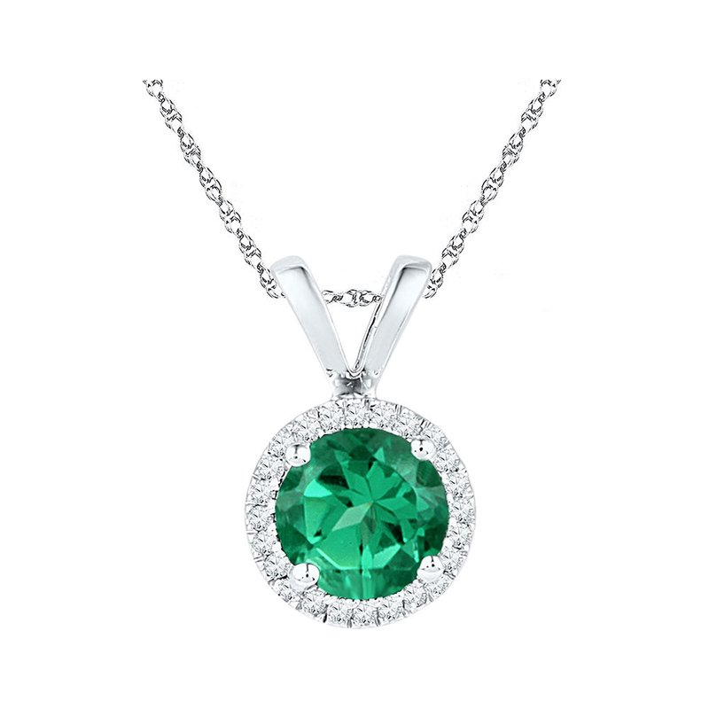 Gold-N-Diamonds 10k White Gold Womens Lab-Created Emerald Solitaire & Diamond Halo Pendant 7/8 Cttw