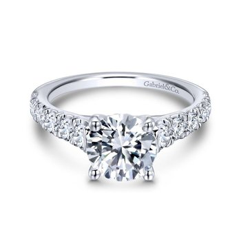 14k White Gold Diamond Straight Four Prong Setting Engagement Ring