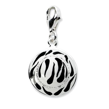 Sterling Silver Click-on CZ Enamel Zebra Hat Charm