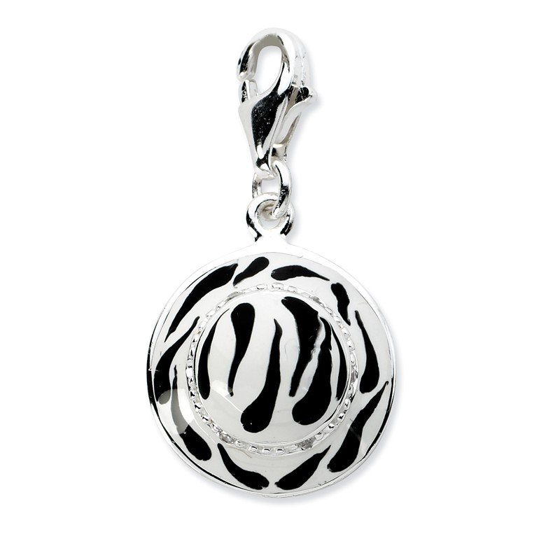 Quality Gold Sterling Silver Click-on CZ Enamel Zebra Hat Charm