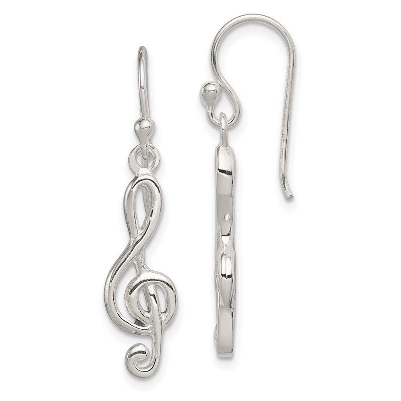 Quality Gold Sterling Silver Music Treble Clef Shepherd Hook Earrings
