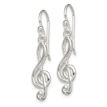 Sterling Silver Music Treble Clef Shepherd Hook Earrings