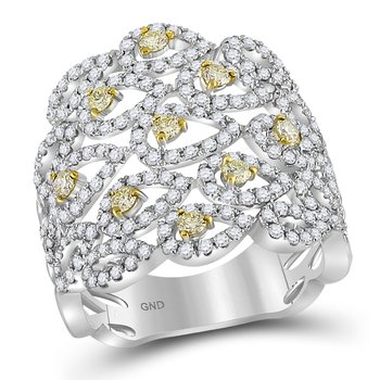 14kt White Gold Womens Round Yellow Diamond Studded Teardrop Pattern Ring 1-1/2 Cttw