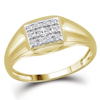 10kt Yellow Gold Mens Diamond Square Cluster Ring 1/8 Cttw