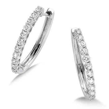 Pave set Diamond Oval Hoops in 14k White Gold (1/2ct. tw.) JK/I1