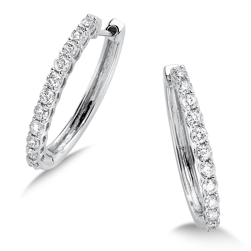SDC Creations Pave set Diamond Oval Hoops in 14k White Gold (1/2ct. tw.) JK/I1