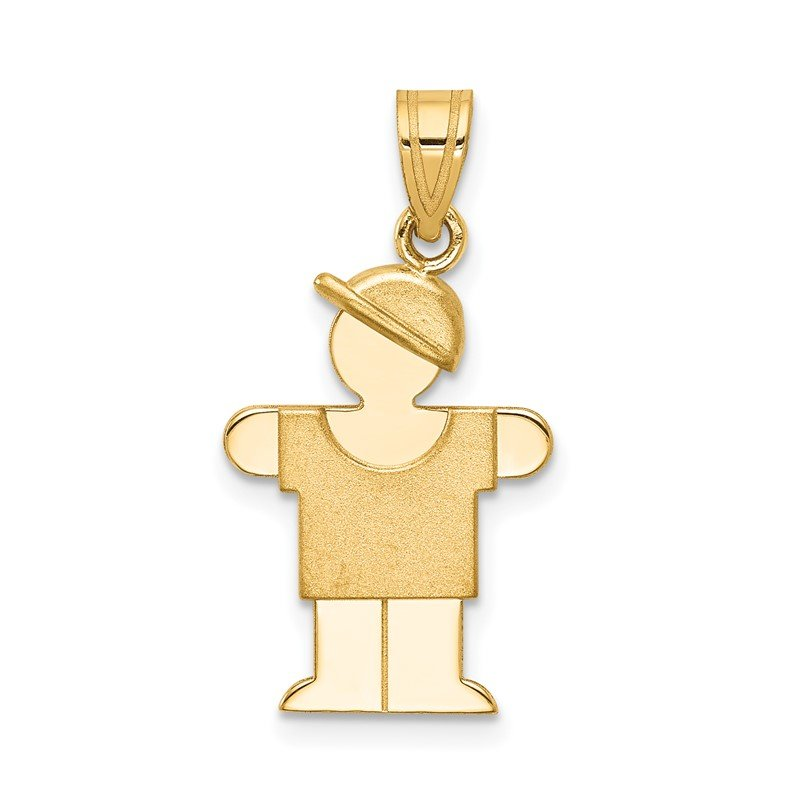 Quality Gold 14k Solid Engravable Boy with Hat on Right Charm